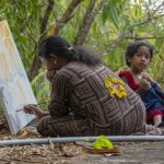 Praseetha painting in the Uravu Bamboo Grove Resort - Wayanad, Kerala