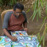Sadu painting in the Uravu Bamboo Grove Resort - Wayanad, Kerala